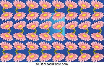 digital textile design of flowers and leaves on abstract background
