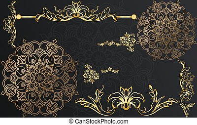 digital textile design of gold art with leaves