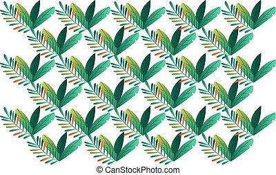 digital textile design of various leaves