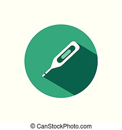 Digital thermometer icon with shadow on a green circle. Vector pharmacy illustration