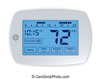 digital thermostat - closeup of a digital, programmable...