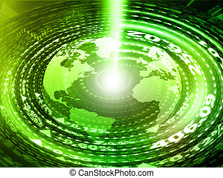 digital, tierra, con, la óptica de fibra