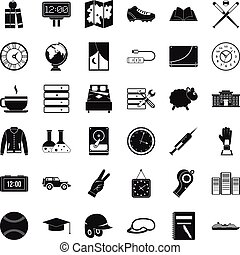Digital time icons set, simple style