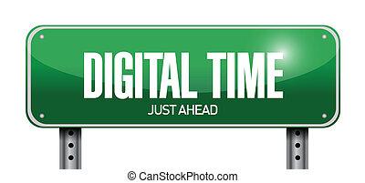 digital time just ahead sign illustration design