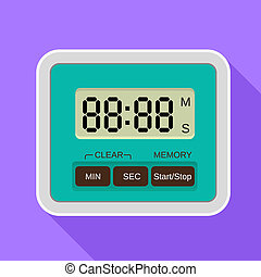 Digital timer icon, flat style