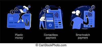 Digital transactions abstract concept vector illustrations.