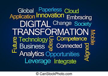 digital, transformación, palabra, nube