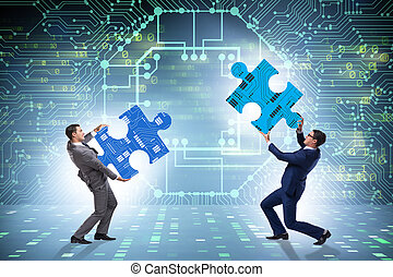 Digital transformation concept with jigsaw puzzle