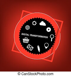 Digital transformation symbol with business elements. Vector...
