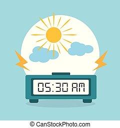 digital ur, alarm, morgon, moln, sol