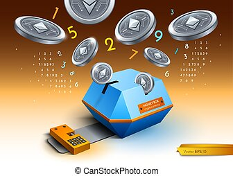 Digital vector bitcoin etherium cryptocurrency blockchain detailed illustrations. Money spread