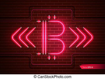 Digital Vector Bitcoin neon light. Detailed cryptocurrency...