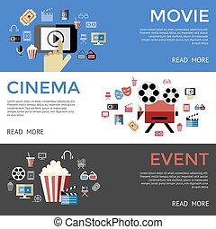 Digital vector black blue cinema