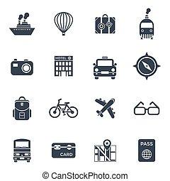 Digital vector black travel icons