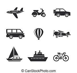 Digital vector black travel transport