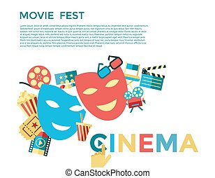 Digital vector blue cinema icons