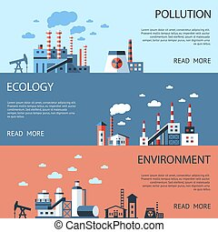 Digital vector blue factory pollution