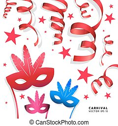 Digital vector blue red carnival