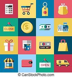 Digital vector blue red shopping