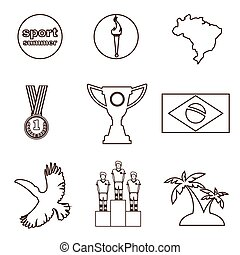 Digital vector brasil sport icons set
