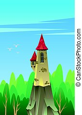 Digital vector, castle with red roof