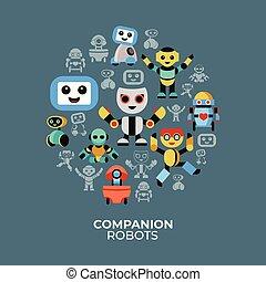Digital vector companion robots icons set