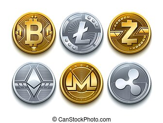 Digital vector cryptocurrency set icons. Bitcoin, Ethereum, Litecoin, Monero, Ripple, Zcash detailed coins