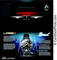 Digital vector dark silver classic man watch - Digital...
