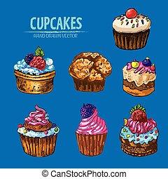 Digital vector detailed line art cupcakes
