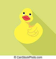 Digital vector duck toy, over green background