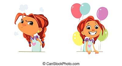Digital vector funny cartoon happy