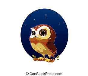 Digital vector funny cartoon owl