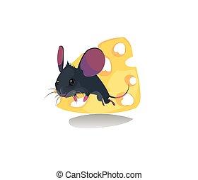 Digital vector funny comic cartoon mouse