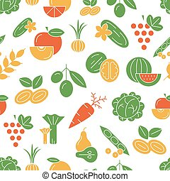 Digital vector green and red vegetable icons