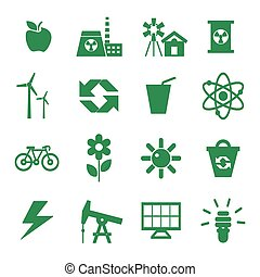 Digital vector green ecology icons