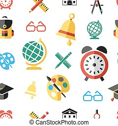 Digital vector green red yellow school icons