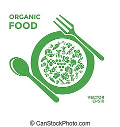 Digital vector green vegetable icons