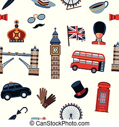 Digital vector london simple icons, flat style seamless...