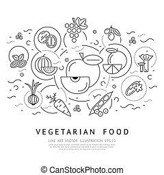 digital, vector, negro, vegetal, iconos, conjunto