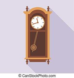 Digital vector old clock in wooden furniture