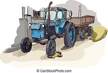 Digital vector painted old belarus tractor