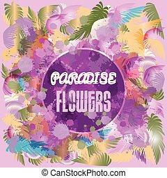 Digital vector purple colored paradise flowers background,...