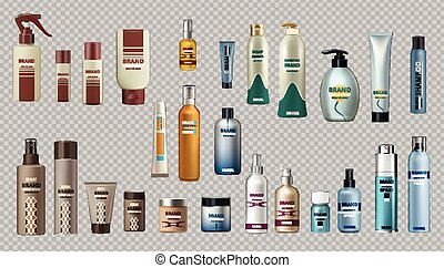 Digital Vector Realistic Bottles Set Collection Mockup. Cosmetics body care and hair cares