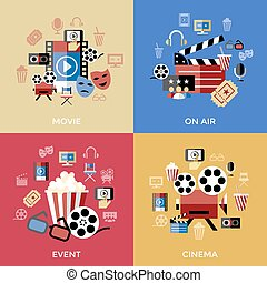 Digital vector red blue cinema