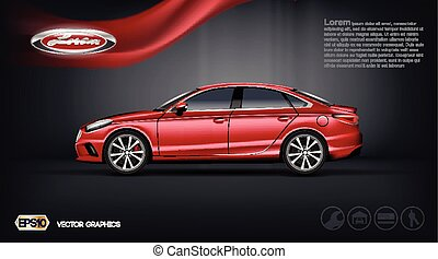Digital vector red car with black windows mockup - Digital...