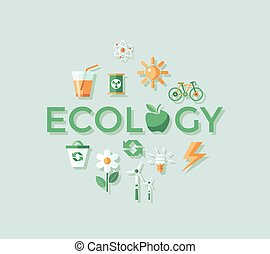 Digital vector red ecology icons