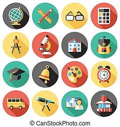 Digital vector red green blue school icons