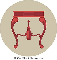 Digital vector red vintage table isolated