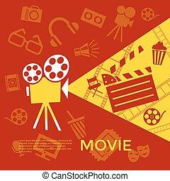 Digital vector red yellow cinema