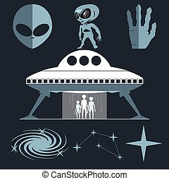Digital vector silver and white cosmic ufo alien